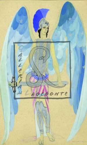 Umberto Brunelleschi -  Bozzetto di costume teatrale, 1935 ca. Tempera e matita su carta Cm. 35,5x25