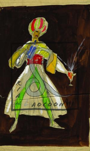 Umberto Brunelleschi -  Orientale che schizza soda in un bicchiere, 1925 ca.  Tempera e matita su carta Cm. 28x26