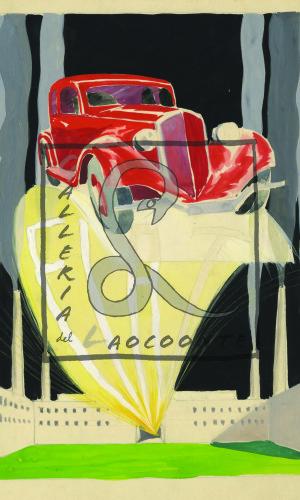 Umberto Brunelleschi - Fiat 508 Balilla, 1932 Tempera e matita su carta