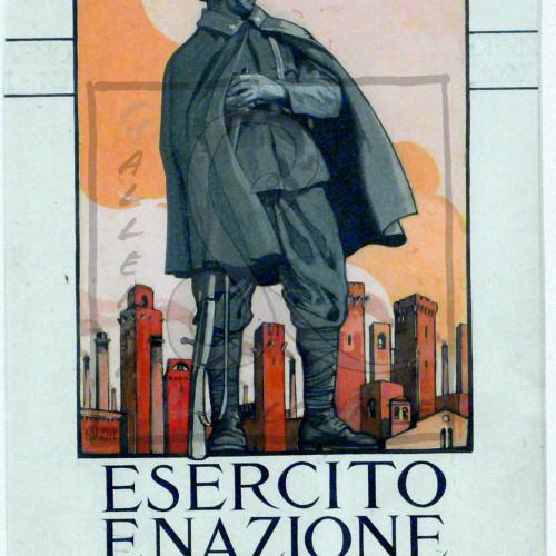 Vittorio Grassi - Esercito e Nazione. Rivista per l'ufficiale italiano, 1926-34 Tempera e inchiostro su carta incollata su cartoncino Cm 30,7x24,2