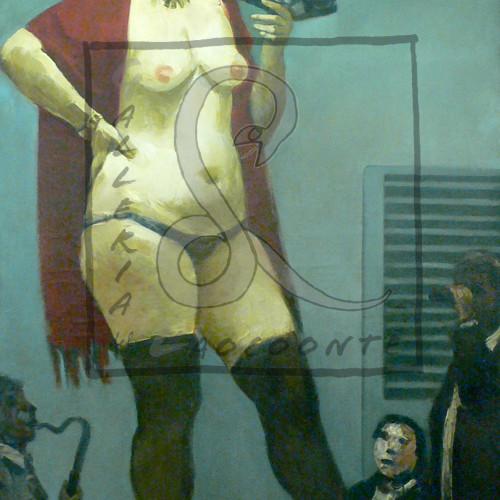 Alberto Ziveri - Nudo di donna con ventaglio, 1958 Olio su tela Cm 170x90