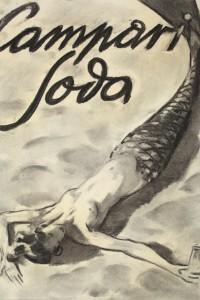 Enrico Sacchetti - Sirena sdraiata sulla spiaggia, 1936, Carboncino e sfumino su carta, cm 44x33