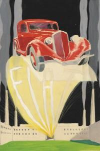Umberto Brunelleschi - Fiat 508 Balilla, 1932, Tempera e Matita su Carta, cm 31,2x28
