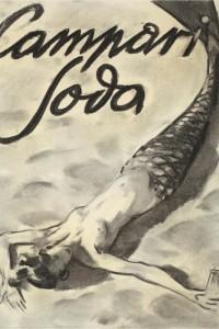 Enrico Sacchetti, 1936, Sirena sdraiata sulla spiaggia, Carboncino a sfumino su carta, cm 44x33
