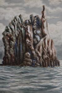 Alberto Savinio, Scoglio Siciliano, 1949, Tempera su faesite, cm 78x58