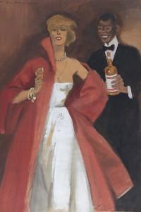 Marcello Dudovich - Donna con Bicchiere e Cameriere con Bottiglia, 1950, Tempera su carta, cm 50x39