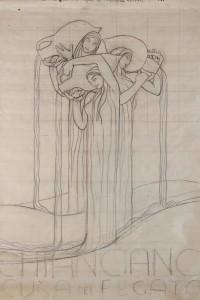 Duilio Cambellotti, Chianciano – Cura del fegato, 1950 ca, Bozzetto preparatorio per manifesto, cm 100x70