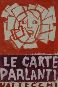 Mino Maccari - Le Carte Parlanti. Vallecchi. Volto Raggiante di carte, 1951-1958, Tempera su Carta, cm 22,5x15,5