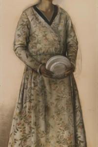 8. Pietro Gaudenzi, Donna con piatti, 1938, carboncino e pastelli su carta, cm 200x90