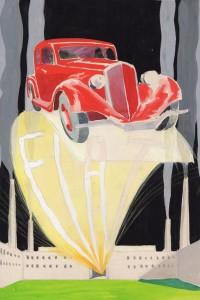 Umberto Brunelleschi, Fiat 508 Balilla, 1932, Tempera e matita su carta, cm 31,2x28