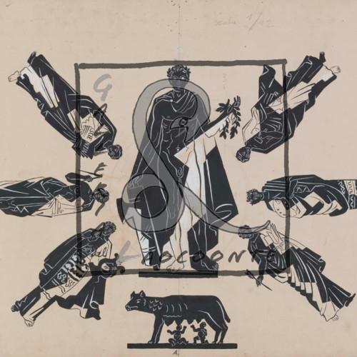 Gino Severini L'Italia fra i simboli dell'Impero e dell'Arte, 1937 Matita e tempera su cartoncino Cm 51x103,5
