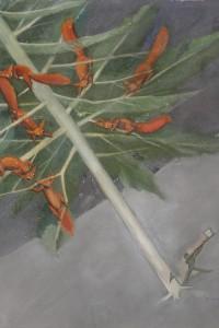 Raoul Chareun - Scoiattoli su un albero e boscaiolo, 1930, tempera policroma su cartoncino, cm 38,7x32