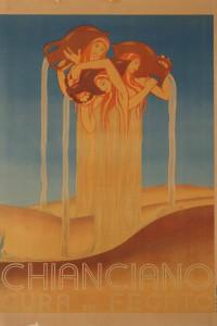 Duilio Cambellotti - Chianciano: Cura del Fegato - Manifesto, cm 98,8x68,8