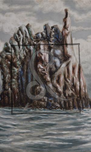 Alberto Savinio - Scoglio siciliano, 1949 Tempera su faesite Cm 78x58