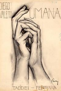 Anselmo Bucci - Mani, 1915, Matita, ritoccato a penna e inchiostro nero, cm 27,5x19,4