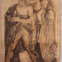 Giulio Bargellini - Ettore e Andromaca Carboncino e matita su carta - Cm 200,5x147