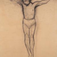 Ottone Rosai - Giovinotto crocifisso, 1950 Carboncino su carta riportata su tela - Cm 180x140