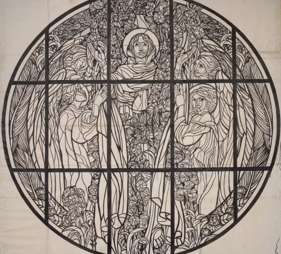 Duilio Cambellotti - Studio per il rosone del Duomo di Teramo, 1933 Inchiostro su carta lucida - Cm 265x260
