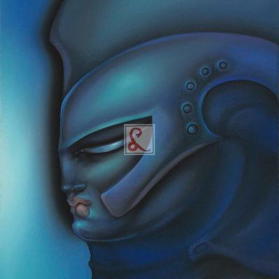 12 Profilo blu, 2008 olio su tela, 46 x 37,5 cm