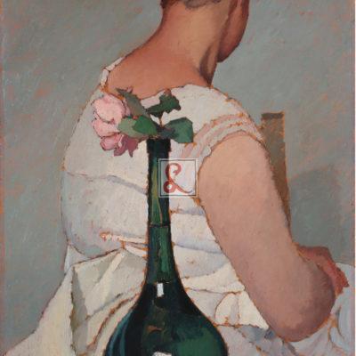 731_Oscar Ghiglia_Ragazza con vaso di fiori_1923_olio su tavola_48,5x39cm