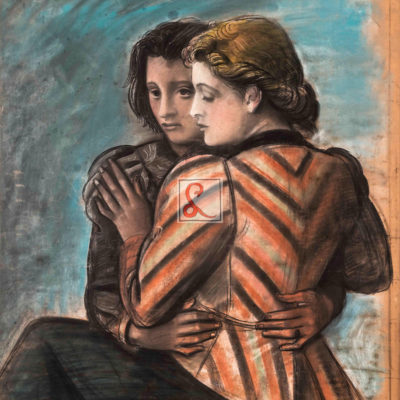 Achille Funi, Ugo e parisina Pastelli colorati su carta intelata cm93x72