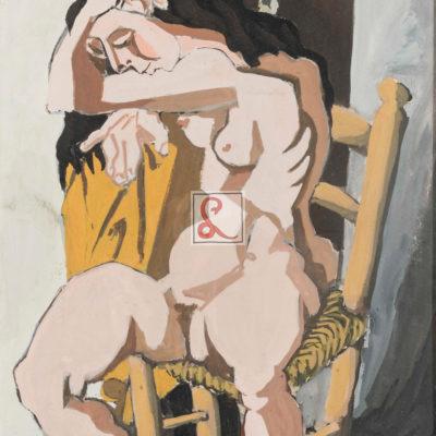 Cesare Peverelli, Nudo Femminile seduto 1943, tempera su carta cm57x37