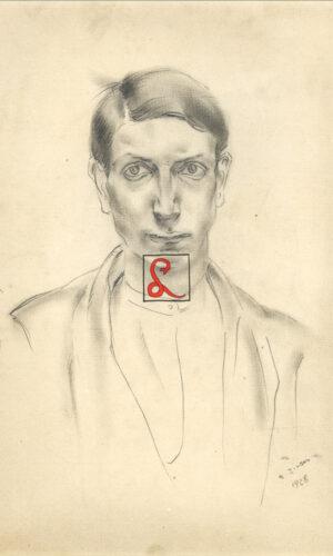 Alberto Ziveri, Autoritratto giovanile. In basso a dx 'A. Ziveri 1928'. Matita su carta, cm 31.4x23