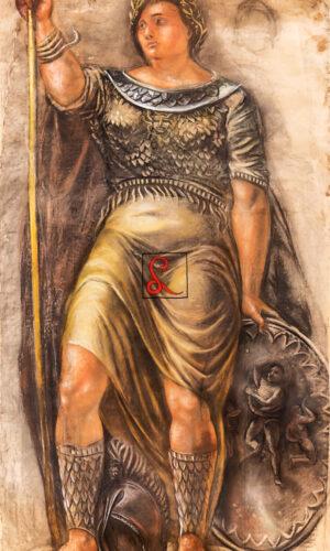 Alberto Ziveri, La Dea Roma, 1940 ca., pastello su carta, cm 377 x 200