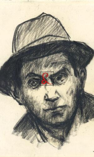 Alberto Ziveri, autoritratto, 1905. Carboncino su carta, cm 26x23. In basso a destra firma 'Ziveri'