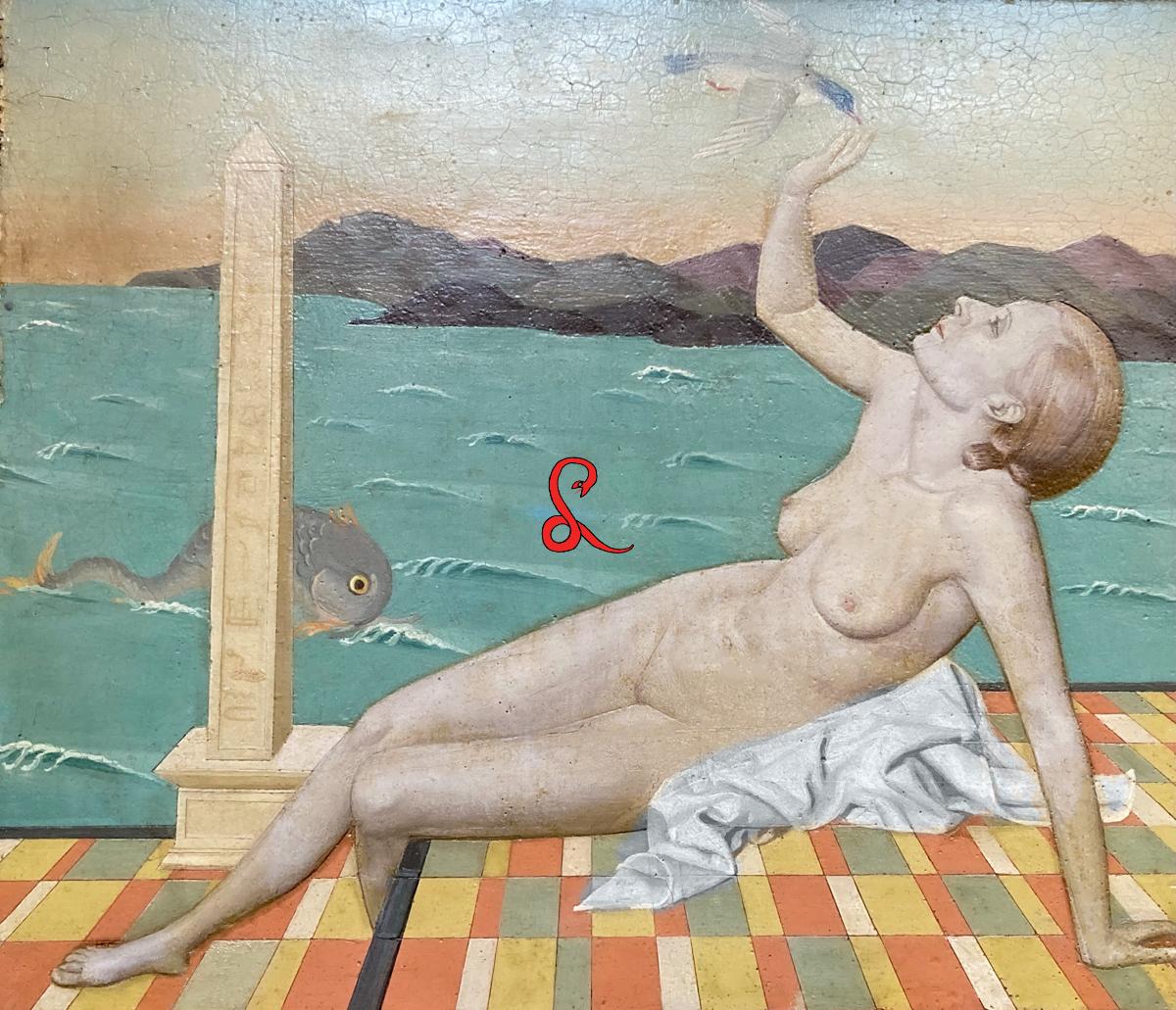 """Edita Walterowna Broglio, Il Mediterraneo (1937), Olio su Tavola, cm 33x30 (Pubblicazioni: Palazzo Ricci Macerata 1991 Cat Mostra """"Edita Walterowna Broglio"""")"""