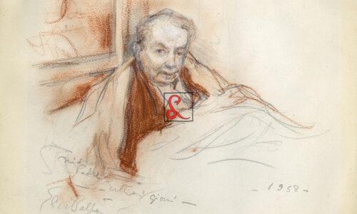 """Elica Balla, ritratto di Giacomo Balla, 1958. Data in basso a dx """"1958"""", firma in basso a sx 'Elica Balla' e dedica 'mio padre ultimi giorni, Cm 17.2x26.4"""