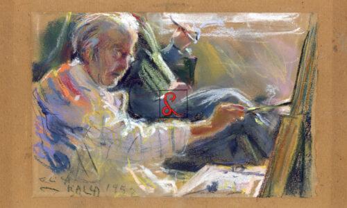Elica Balla, Mio padre dipinge l'ultimo ritratto, 1952. Pastello su carta, 12.5x19_firma in bassa a sx 'Elica Balla 1952', gessetto su carta, R174