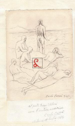 Carlo Carrà, Ulisse con compagni, 1945. Matita su carta applicata su carta, cm 32,5x19