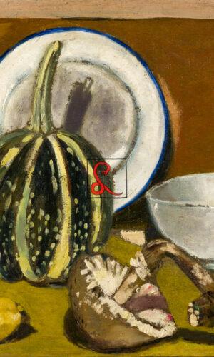 Filippo De Pisis, Natura morta con zucca e funghi, 1923. Olio su tela, cm40x50