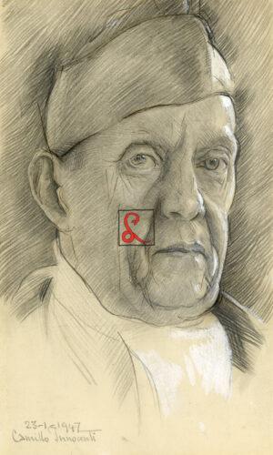 """Camillo Innocenti, data e firma in basso a sx '23 1 1942"""". Matita e tempera bianca su carta, cm 24x14"""
