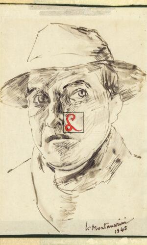 """Luigi Montanarini, Autoritratto. Firma in basso a dx """"l. Montanarini 1945"""". China acquarellata su carta, cm 26.5x17"""