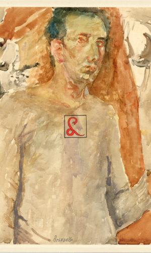 Fausto Pirandello, Autoritratto. Acquarello su carta. Firma in basso al centro 'Pirandello', 1945 ca, cm 29x23. Con autentica del figlio Pierluigi