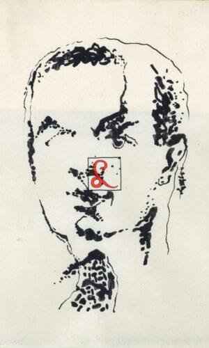 Enrico Prampolini, Autoritratto. Inchiostro di china su carta, 1940, cm 18.4x16.7 cm