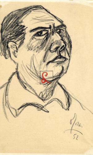Ottone Rosai, Autoritratto. Firma in basso a destra 'Rosai 52', carboncino su carta, cm 39.7 x 30