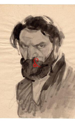 Enrico Sacchetti, Autoritratto da giovane, 1910. Inchiostro su carta, cm 28,5x23,5