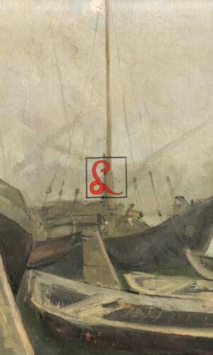 Alberto Carosi, Barche in Laguna. Olio su tavola, cm. 38 x 48, Firmato e datato 1927 a numeri romani, in basso a sinistra