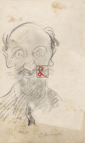 CAMILLO INNOCENTI, RITRATTO DI UOMO, Matita su carta, cm. 19 x 13, Firma in basso a destra