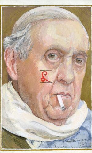 """Camillo Innocenti (Roma 1871 - 1961) Autoritratto 1954 Tempera e matita su carta, cm 22.5x14.8 Firmato e datato in basso a destra """"Camillo Innocenti / 1954"""""""