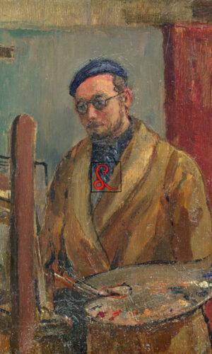 Aldo Carpi, Autoritratto. Olio su tavoletta, 21.5x16 cm