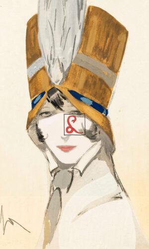 Enrico Sacchetti - Volto femminile con cappello, matita e acquarello su carta, cm 32,5 x 24