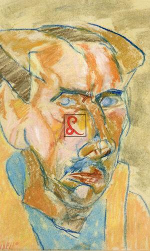 Fausto Pirandello, Autoritratto. Pastelli a cera e gessetto su carta. Firma in basso a sinistra 'Pirandello', cm 27.5 x 22