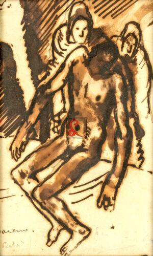 Felice Carena - La Pietà, tecnica mista su carta, cm 18,5 x 12,5. Firma e titolo in b. a s.: Carena, La Pietà