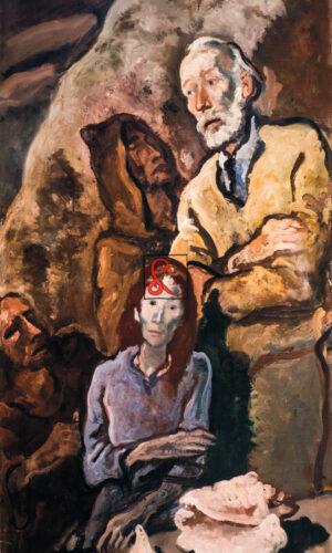 Felice Carena, Ritratto con Giuliana, 1954. Cm 132x75