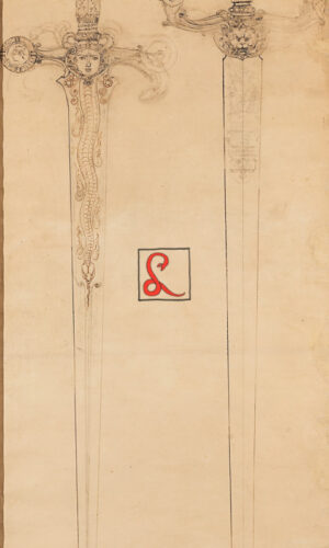 Galileo Chini - Spade. Matita e china su carta, cm 140,5 x 58