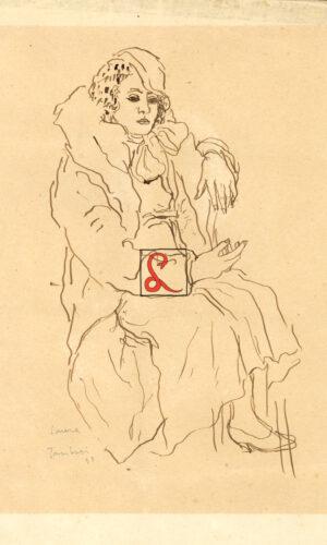 Orfeo Tamburi, ritratto della moglie Laura Bellini. In basso a sx a matita 'Laura, Tamburi 48'. Penna di china su carta, cm 27.5x19
